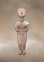 Female figurine statuette : Cycladic Canonical type, Spedos variety f. Early Cycladic Period II, (2800-2300 BC), ' Museum of Cycladic Art Athens, cat no 207.