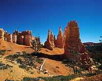 "Highly-eroded ""tuff"" (soft volcanic spoil) pinnacles in Bryce Canyon, Utah, US"
