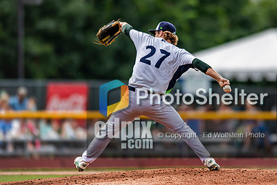 21 July 2019: Vermont Lake Monsters pitcher Tyler Baum on the mound against the Tri-City ValleyCats at Centennial Field in Burlington, Vermont. The Lake Monsters rallied to defeat the ValleyCats 6-3 in NY Penn League play. Mandatory Credit: Ed Wolfstein Photo *** RAW (NEF) Image File Available ***