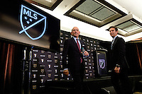 Toronto, ON, Canada - Friday Dec. 09, 2016: MLS commissioner Don Garber, MLS executive vice president, communications Dan Courtmanche during the State of the League Address at the InterContinental Hotel.