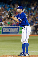 Toronto Blue Jays pitcher Casey Janssen #44 during an American League game against the Boston Red Sox at Rogers Centre on June 3, 2012 in Toronto, Ontario.  (Mike Janes/Four Seam Images)