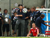 Germany coach Joachim Loew kicks the ball away from a Ghana throw in