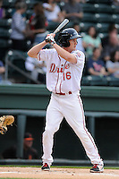Right fielder Derek Miller (16) of the Greenville Drive bats in a game against the Augusta GreenJackets on Opening Day, Thursday, April 9, 2015, at Fluor Field at the West End in Greenville, South Carolina. Greenville won, 3-2. (Tom Priddy/Four Seam Images)