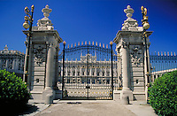 The gates of Palacio Real in Madrid, Spain. ornate architecture, entrance. Madrid, Spain.