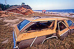 Residents inspect the damage after Hurricane Elena churned in the Gulf of Mexico off the coast of the Florida panhandle in September 2, 1985.  Elena was the first major hurricane of the 1985 season and it's unusual path included a loop and went back and fourth along the Florida panhandle as a category 3 storm heavily damaging the Apalachicola, FL oyster industry.  Apalachicola recorded the highest surge and rainfall totals and whatever oyster industry wasn't ruined by Elena was finished off when Hurricane Kate followed  in November of the same season.