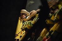 CALI - COLOMBIA. 14-08-2019: Un grupo de músca autóctona hace su presentación durante el primer día del XXIII Festival de Música del Pacífico Petronio Alvarez 2019 el festival cultural afro más importante de Latinoamérica y se lleva acabo entre el 14 y el 19 de agosto de 2019 en la ciudad de Cali. / A group makes its performance of autochthonous music during the XXII Pacific Music Festival Petronio Alvarez 2019 that is the most important afro descendant cultural festival of Latin America and takes place between August 14 and 19, 2019, in Cali city. Photo: VizzorImage/ Gabriel Aponte / Staff