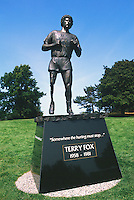 Terry Fox Statue, Victoria, BC, Vancouver Island, British Columbia, Canada - Mile 0 (Zero) Landmark and Monument (Designer / Sculptor: Stephen Harman)