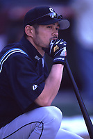 Ichiro Suzuki of the Seattle Mariners during a 2001 season MLB game at Angel Stadium in Anaheim, California. (Larry Goren/Four Seam Images)