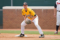 First baseman Brent Mikionis #27 of the VCU Rams on defense against the St. John's Red Storm at the Charlottesville Regional of the 2010 College World Series at Davenport Field on June 5, 2010, in Charlottesville, Virginia.  The Red Storm defeated the Rams 8-6.  Photo by Brian Westerholt / Four Seam Images