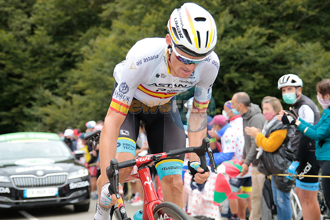 Spanish Champion Luis León Sanchez (ESP) Astana Pro Team climbs Col de Marie Blanque during Stage 9 of Tour de France 2020, running 153km from Pau to Laruns, France. 6th September 2020. <br /> Picture: Colin Flockton | Cyclefile<br /> All photos usage must carry mandatory copyright credit (© Cyclefile | Colin Flockton)