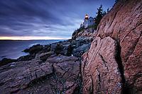 Bass Harbor Light and pink granite, Bass Harbor, Hancock County, Maine, USA