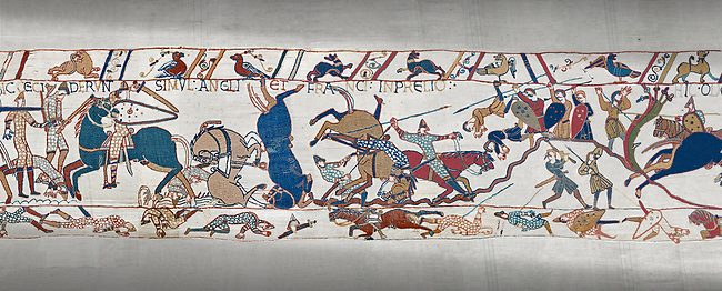 Bayeux Tapestry scene 53b: Norman cavalry attack Saxon soldiers ontop of a hill at the Battle of Hastings.