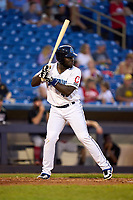 Lake County Captains Jhonkensy Noel (43) bats during a game against the Great Lakes Loons on August 28, 2021 at Classic Park in Eastlake, Ohio.  (Mike Janes/Four Seam Images)