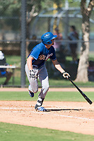 Los Angeles Dodgers infielder Devin Mann (80) starts down the first base line during an Instructional League game against the Oakland Athletics at Camelback Ranch on September 27, 2018 in Glendale, Arizona. (Zachary Lucy/Four Seam Images)