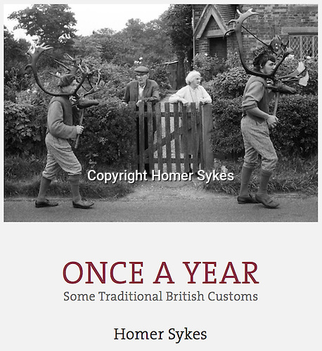 Once a Year, second edition published by Dewi Lewis Publishing in July 2016. Have a great Christmas. Copies signed and or dedicated. Payment by PayPal or BACS. Email me for details FOLLOW THE RED CONTACT LINK AT THE BOTTOM OF EACH PAGE. Many thanks Homer.<br /> <br /> Hardback with Dustjacket<br /> 290mm x 235mm, ( A4ish) 216 pages <br /> 134 duotone photographs <br /> ISBN: 978-1-911306-03-0 <br /> <br /> In the 2016 edition there are over 50 'new' images from my archive and different customs too. Both editions are available.<br /> <br /> Abbots Bromley Horn Dance, Abbots Bromley, Staffordshire, England 1973