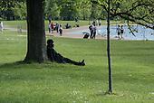 Man resting under a tree, Kensington Gardens, London.