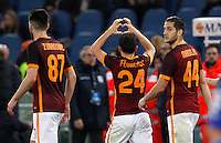 Calcio, Serie A: Roma vs Sampdoria. Roma, stadio Olimpico, 7 febbraio 2016.<br /> Roma's Alessandro Florenzi, center, celebrates with teammates Ervin Zukanovic, left, and Kostas Manolas, after scoring during the Italian Serie A football match between Roma and Sampdoria at Rome's Olympic stadium, 7 January 2016.<br /> UPDATE IMAGES PRESS/Riccardo De Luca