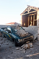 Pictured: Part of a wall has collapsed onto a pick-up truck in Plomari, Lesbos, Greece. Monday 12 June 2017<br /> Re: A strong earthquake has rocked the Greek island of Lesbos, injuring 10 people and damaging dozens of homes at the Brit tourist hotspot.<br /> The magnitude 6.2 quake struck off the coast of western Turkey close to the islands of Samos and Lesbos, which are hugely popular with holidaymakers.