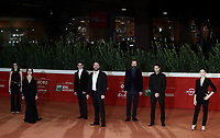 "Director and actors pose on the red carpet for the screening of the film ""Romulus"" during the 15th Rome Film Festival (Festa del Cinema di Roma) at the Auditorium Parco della Musica in Rome on October 24, 2020.<br />