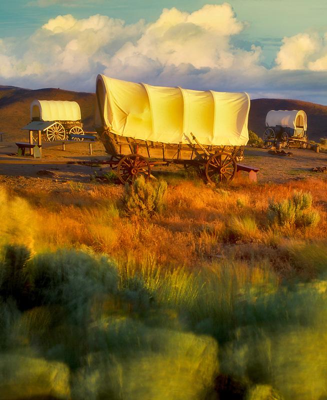 Covered wagons at Oregon Trail Interpretive Center. Near Baker City, Oregon