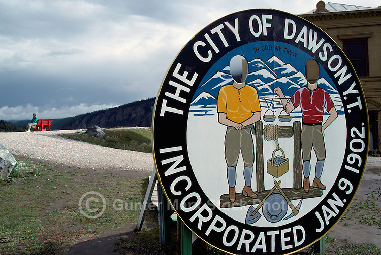 Welcome Sign to Dawson City, YT, Yukon Territory, Canada