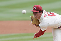Arkansas Lael Lockhart (18) throws a pitch, Saturday, April 3, 2021 during the first inning of a baseball game at Baum-Walker Stadium in Fayetteville. Check out nwaonline.com/210404Daily/ for today's photo gallery. <br /> (NWA Democrat-Gazette/Charlie Kaijo)