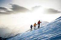 Ski touring on the Bishorn, a 4153 meter peak, in the Wallis / Valais region of Switzerland, above Zinal, Switzerland.