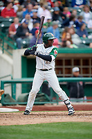 Fort Wayne TinCaps right fielder Jorge Ona (13) at bat during a game against the Wisconsin Timber Rattlers on May 10, 2017 at Parkview Field in Fort Wayne, Indiana.  Fort Wayne defeated Wisconsin 3-2.  (Mike Janes/Four Seam Images)