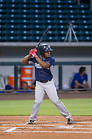 AZL Padres 2 second baseman Eguy Rosario (1) at bat against the AZL Cubs on August 28, 2017 at Sloan Park in Mesa, Arizona. AZL Cubs defeated the AZL Padres 2 9-4. (Zachary Lucy/Four Seam Images)