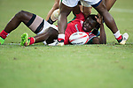 Billy Odhiambo of Kenya lays on the ground during the match New Zealand vs Kenya, Day 2 of the HSBC Singapore Rugby Sevens as part of the World Rugby HSBC World Rugby Sevens Series 2016-17 at the National Stadium on 16 April 2017 in Singapore. Photo by Victor Fraile / Power Sport Images