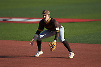 Valparaiso Crusaders second baseman Parker Johnson (18) on defense against the Western Kentucky Hilltoppers at Nick Denes Field on March 19, 2021 in Bowling Green, Kentucky. (Brian Westerholt/Four Seam Images)