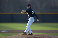 Bellarmine Knights relief pitcher Anthony Ethington (35) in action against the North Greenville Crusaders at Ashmore Park on February 7, 2020 in Tigerville, South Carolina. The Crusaders defeated the Knights 10-2. (Brian Westerholt/Four Seam Images)