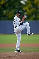 Staten Island Yankees pitcher Abismael Villaman (55) during a NY-Penn League game against the Aberdeen Ironbirds on August 22, 2019 at Richmond County Bank Ballpark in Staten Island, New York.  Aberdeen defeated Staten Island 4-1 in a rain shortened game.  (Mike Janes/Four Seam Images)