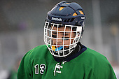 Notre Dame Fighting Irish of Batavia forward Wyatt Thompson (13) during a varsity ice hockey game against the Brockport Blue Devils during the Section V Rivalry portion of the Frozen Frontier outdoor hockey event at Frontier Field on December 22, 2013 in Rochester, New York.  (Copyright Mike Janes Photography)