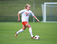 Makenzy Doniak (9) of Virginia brings the ball upfield during the game at Klockner Stadium in Charlottesville, VA.  Virginia defeated Maryland, 1-0.