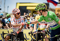 polka dot jersey / KOM leader Nairo Quintana (COL/Arkea Samsic) & Green Jersey / points leader Mark Cavendish (GBR/Deceuninck - Quick Step) greeting each other at the stage start in Carcassonne<br /> <br /> Stage 14 from Carcassonne to Quillan (184km)<br /> 108th Tour de France 2021 (2.UWT)<br /> <br /> ©kramon