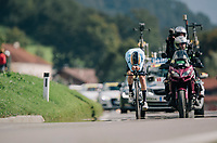 Remco Evenepoel (BEL) smashed the competition to become the new Junior TT World Champion<br /> <br /> MEN JUNIOR INDIVIDUAL TIME TRIAL<br /> Hall-Wattens to Innsbruck: 27.8 km<br /> <br /> UCI 2018 Road World Championships<br /> Innsbruck - Tirol / Austria