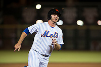 Scottsdale Scorpions first baseman Peter Alonso (20), of the New York Mets organization, hustles around third base during an Arizona Fall League game against the Salt River Rafters at Scottsdale Stadium on October 12, 2018 in Scottsdale, Arizona. Scottsdale defeated Salt River 6-2. (Zachary Lucy/Four Seam Images)