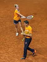 Arena Loire,  Trélazé,  France, 14 April, 2016, Semifinal FedCup, France-Netherlands, Dutch team warming up, Captain Paul Haarhuis and Richel Hogenkamp<br /> Photo: Henk Koster/Tennisimages