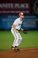 Delmarva Shorebirds shortstop Adam Hall (10) during a South Atlantic League game against the Greensboro Grasshoppers on August 21, 2019 at Arthur W. Perdue Stadium in Salisbury, Maryland.  Delmarva defeated Greensboro 1-0.  (Mike Janes/Four Seam Images)