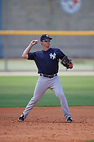 New York Yankees third baseman Mandy Alvarez (47) throws to first base during a minor league Spring Training game against the Toronto Blue Jays on March 30, 2017 at the Englebert Complex in Dunedin, Florida.  (Mike Janes/Four Seam Images)