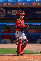 Washington Nationals catcher Tres Barrera (38) during a Major League Spring Training game against the New York Mets on March 18, 2021 at Clover Park in St. Lucie, Florida.  (Mike Janes/Four Seam Images)