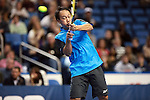 USA's Michael Chang returns the ball at the HSBC Tennis Cup series at First Niagara Center in Buffalo, NY on October 22, 2011
