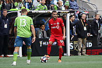 SEATTLE, WA - NOVEMBER 10: Auro Jr. #96 of Toronto FC stands over the ball during a game between Toronto FC and Seattle Sounders FC at CenturyLink Field on November 10, 2019 in Seattle, Washington.