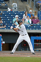 Norfolk Tides shortstop Paul Janish (11) at bat  during a game against the Louisville Bats at Harbor Park on April 26, 2016 in Norfolk, Virginia. Louisville defeated defeated Norfolk 7-2. (Robert Gurganus/Four Seam Images)