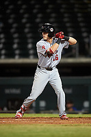 Scottsdale Scorpions Nick Maton (16), of the Philadelphia Phillies organization, at bat during an Arizona Fall League game against the Mesa Solar Sox on September 18, 2019 at Sloan Park in Mesa, Arizona. Scottsdale defeated Mesa 5-4. (Zachary Lucy/Four Seam Images)