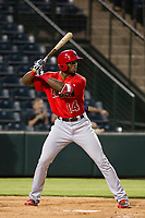 AZL Angels right fielder Jimmy Barnes (14) bats during a game against the AZL Giants on July 9, 2017 at Diablo Stadium in Tempe, Arizona. AZL Giants defeated the AZL Angels 8-4. (Zachary Lucy/Four Seam Images)