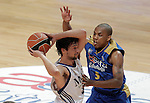 Asefa Estudiantes' Tyrone Ellis (r) and Real Madrid's Sergio LLull during ACB match.September 30,2010. (ALTERPHOTOS/Acero)