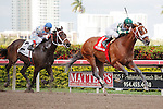 Mucho Macho Man(1) with Ramon Dominguez up gets by Tackleberry(2)  and wins the Gulfstream Park Handicap(G2) at Gulfstream Park, Hallandale Beach Florida. 03-10-2012