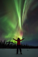 Woman stands under the northern lights in the Brooks Range, Arctic, Alaska.